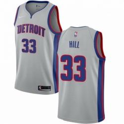 Mens Nike Detroit Pistons 33 Grant Hill Swingman Silver NBA Jersey Statement Edition