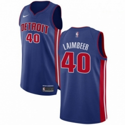Mens Nike Detroit Pistons 40 Bill Laimbeer Authentic Royal Blue Road NBA Jersey Icon Edition