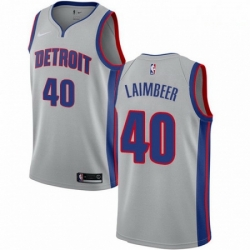 Mens Nike Detroit Pistons 40 Bill Laimbeer Authentic Silver NBA Jersey Statement Edition