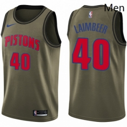 Mens Nike Detroit Pistons 40 Bill Laimbeer Swingman Green Salute to Service NBA Jersey