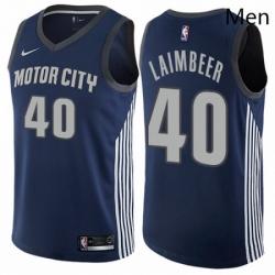 Mens Nike Detroit Pistons 40 Bill Laimbeer Swingman Navy Blue NBA Jersey City Edition