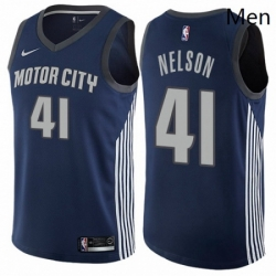 Mens Nike Detroit Pistons 41 Jameer Nelson Authentic Navy Blue NBA Jersey City Editionion