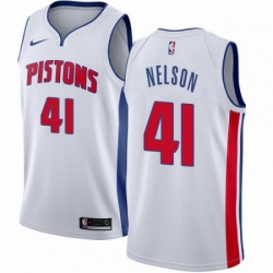 Mens Nike Detroit Pistons 41 Jameer Nelson Authentic White NBA Jersey Association Edition