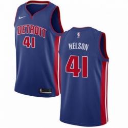 Mens Nike Detroit Pistons 41 Jameer Nelson Swingman Royal Blue NBA Jersey Icon Edition