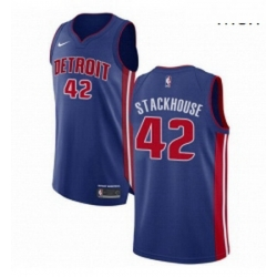 Mens Nike Detroit Pistons 42 Jerry Stackhouse Authentic Royal Blue Road NBA Jersey Icon Edition