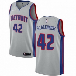 Mens Nike Detroit Pistons 42 Jerry Stackhouse Authentic Silver NBA Jersey Statement Edition