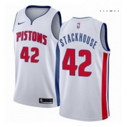 Mens Nike Detroit Pistons 42 Jerry Stackhouse Authentic White Home NBA Jersey Association Edition