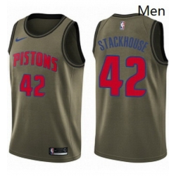 Mens Nike Detroit Pistons 42 Jerry Stackhouse Swingman Green Salute to Service NBA Jersey