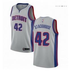 Mens Nike Detroit Pistons 42 Jerry Stackhouse Swingman Silver NBA Jersey Statement Edition