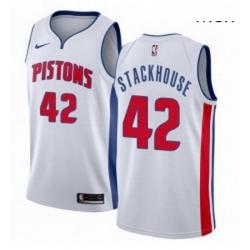 Mens Nike Detroit Pistons 42 Jerry Stackhouse Swingman White Home NBA Jersey Association Edition