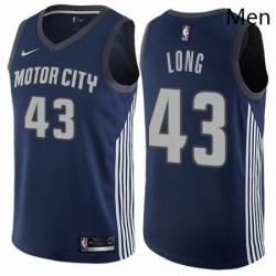 Mens Nike Detroit Pistons 43 Grant Long Authentic Navy Blue NBA Jersey City Edition