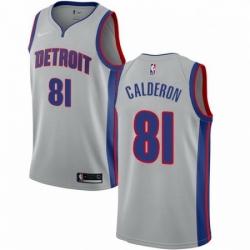 Mens Nike Detroit Pistons 81 Jose Calderon Authentic Silver NBA Jersey Statement Edition