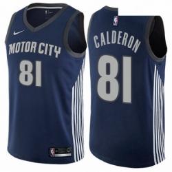 Mens Nike Detroit Pistons 81 Jose Calderon Swingman Navy Blue NBA Jersey City Edition