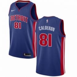 Mens Nike Detroit Pistons 81 Jose Calderon Swingman Royal Blue NBA Jersey Icon Edition