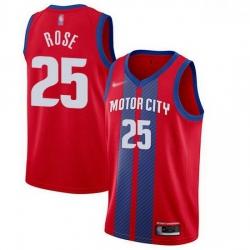 Pistons  25 Derrick Rose Red Basketball Swingman City Edition 2019 20 Jersey