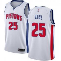 Pistons  25 Derrick Rose White Basketball Swingman Association Edition Jersey