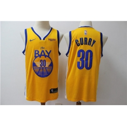 Men Golden Warriors Stephen Curry 30 Yellow Nike Swingman Jersey