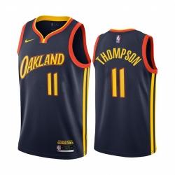 Men Nike Golden State Warriors 11 Klay Thompson Navy NBA Swingman 2020 21 City Edition Jersey
