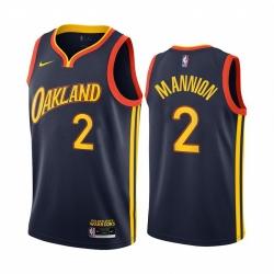Men Nike Golden State Warriors 2 Nico Mannion Navy NBA Swingman 2020 21 City Edition Jersey