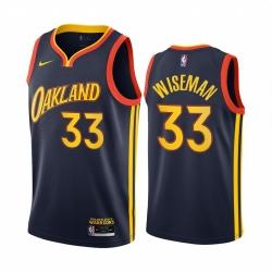 Men Nike Golden State Warriors 33 James Wiseman Navy NBA Swingman 2020 21 City Edition Jersey