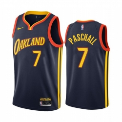 Men Nike Golden State Warriors 7 Eric Paschall Navy NBA Swingman 2020 21 City Edition Jersey