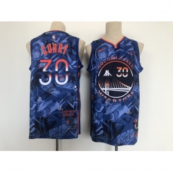 Men's Golden State Warriors #30 Stephen Curry Blue San Francisco Basketbal Jersey