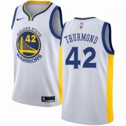 Mens Nike Golden State Warriors 42 Nate Thurmond Swingman White Home NBA Jersey Association Edition
