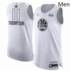 Mens Nike Jordan Golden State Warriors 11 Klay Thompson Authentic White 2018 All Star Game NBA Jersey