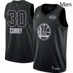 Mens Nike Jordan Golden State Warriors 30 Stephen Curry Swingman Black 2018 All Star Game NBA Jersey