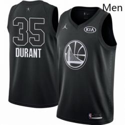 Mens Nike Jordan Golden State Warriors 35 Kevin Durant Swingman Black 2018 All Star Game NBA Jersey
