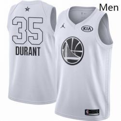 Mens Nike Jordan Golden State Warriors 35 Kevin Durant Swingman White 2018 All Star Game NBA Jersey