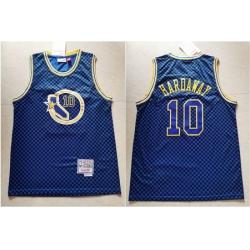 Warriors 10 Tim Hardaway Blue Hardwood Classics Jersey