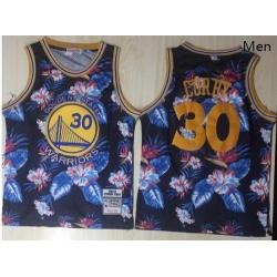 Warriors 30 Stephen Curry Black 1996 97 Hardwood Classics Floral Fashion Swingman Jersey