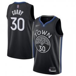 Warriors  30 Stephen Curry Black Basketball Swingman City Edition 2019 20 Jersey
