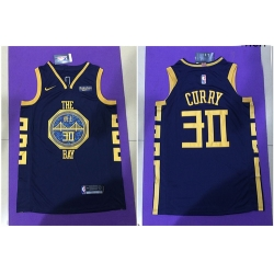 Warriors 30 Stephen Curry Navy City Edition Nike Authentic Jersey