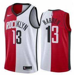 Men Brooklyn Nets Houston Rockets 13 James Harden Jersey Past and Present MVP Red White Split Edition