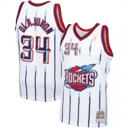 Men Houston Rockets Hakeem Olajuwon 34 White Mitchell Ness NBA Jersey