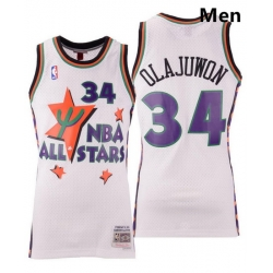 Men Houston Rockets Mitchell Ness White Assorted Hakeem Olajuwon Nba All Star 1995 Swingman Jersey