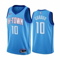 Men Nike Houston Rockets 10 Eric Gordon Blue NBA Swingman 2020 21 City Edition Jersey