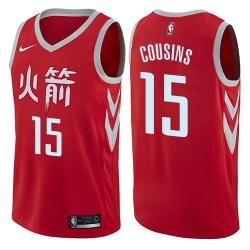 Men Nike Houston Rockets 15 DeMarcus Cousins Red NBA Swingman City Edition Jersey