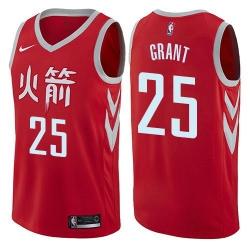 Men Nike Houston Rockets 25 Jerian Grant Red NBA Swingman City Edition Jersey