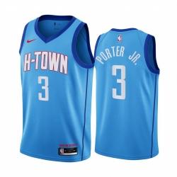 Men Nike Houston Rockets 3 Kevin Porter Jr  Blue NBA Swingman 2020 21 City Edition Jersey