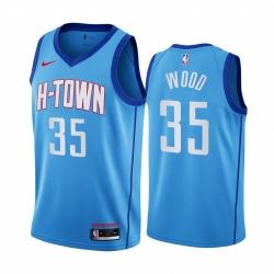 Men Nike Houston Rockets 35 Christian Wood Blue NBA Swingman 2020 21 City Edition Jersey