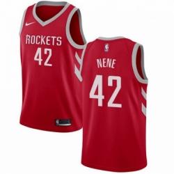 Mens Nike Houston Rockets 42 Nene Swingman Red Road NBA Jersey Icon Edition