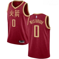 Rockets #0 Russell Westbrook Red Basketball Swingman City Edition 2018 19 Jersey