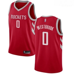 Rockets #0 Russell Westbrook Red Basketball Swingman Icon Edition Jersey