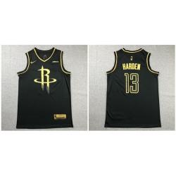 Rockets 13 James Harden Black Gold Nike Swingman Jersey