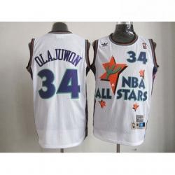 Rockets 34 Hakeem Olajuwon White All Star 1995 Stitched NBA Jersey