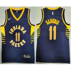 Men Indiana Pacers 11 Domantas Sabonis New Navy Blue 2021 Nike Swingman Stitched NBA Jersey