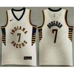 Men Indiana Pacers 7 Malcolm Brogdon New White 2021 Nike Swingman Stitched NBA Jersey